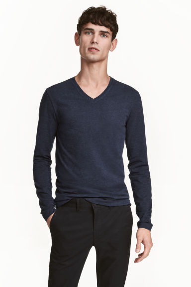 Long-sleeved T-shirt Slim fit - Dark blue marl - Men | H&M 1