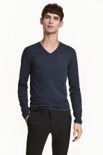 Long-sleeved T-shirt Slim fit - Dark blue marl - Men | H&M CN 1