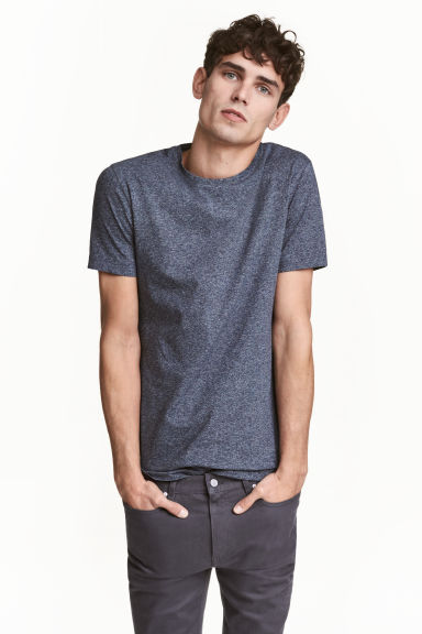 Round-neck T-shirt Slim fit - Dark blue marl - Men | H&M CN