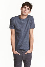 Round-neck T-shirt Slim fit - Dark blue marl - Men | H&M 1