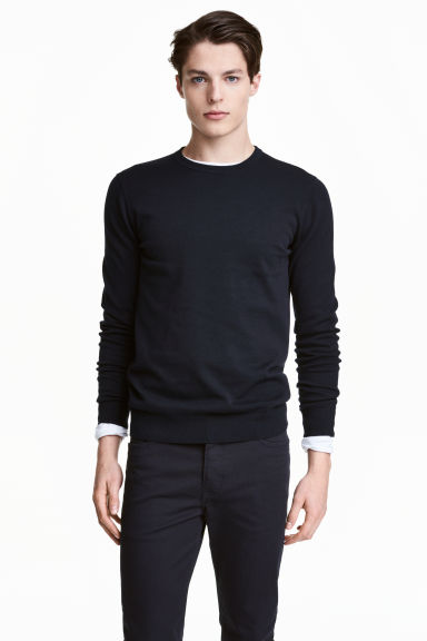 Fine-knit cotton jumper - Dark blue - Men | H&M 1