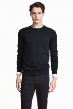 Fine-knit cotton jumper - Dark blue - Men | H&M CN 1