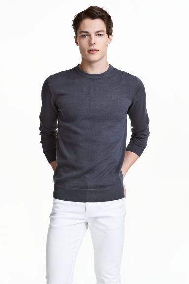 Fine-knit cotton jumper - Blue-grey - Men | H&M CN 1