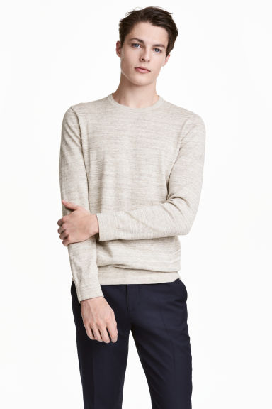 Fine-knit cotton jumper - Beige marl - Men | H&M CN 1
