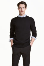 Fine-knit cotton jumper - Black - Men | H&M 2