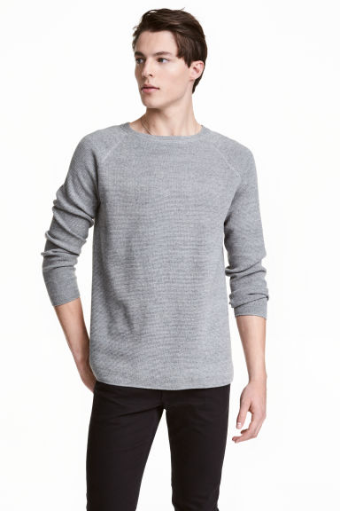 Textured jumper - Grey marl - Men | H&M CN