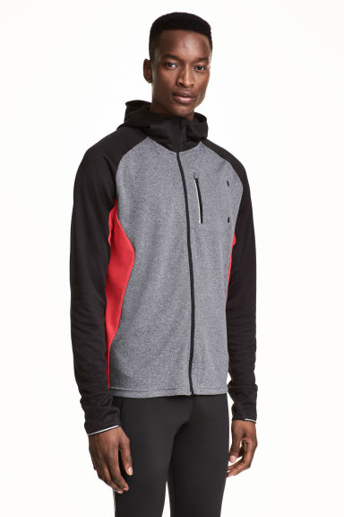 Hooded running jacket - Grey marl/Red - Men | H&M 1