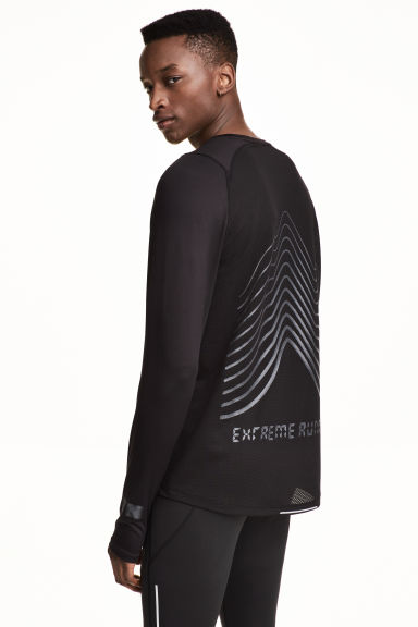 Long-sleeved running top - Black - Men | H&M 1