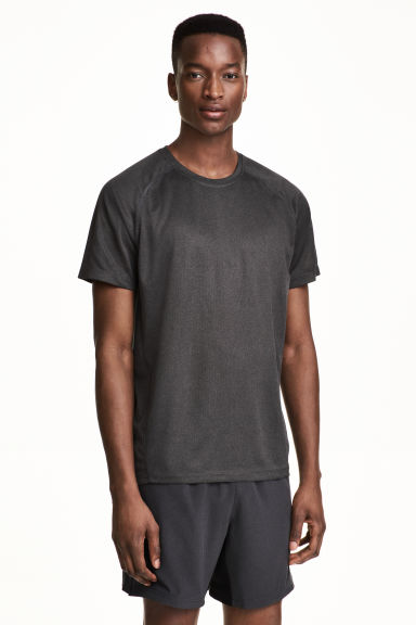 Short-sleeved running top - Dark grey marl - Men | H&M 1
