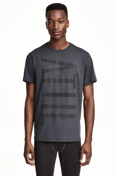 Printed sports top - Dark grey marl - Men | H&M CN 1