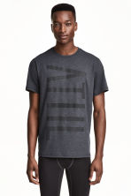 Printed sports top - Dark grey marl - Men | H&M 1