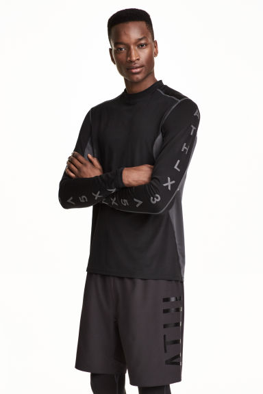 Long-sleeved sports top - Black/Grey - Men | H&M