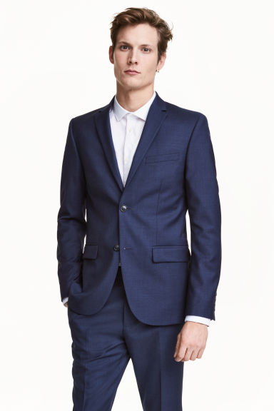 Wool jacket Slim fit - Navy blue - Men | H&M 1