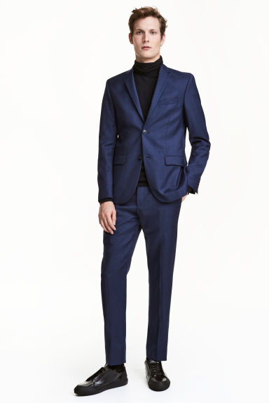 Wool suit trousers Regular fit - Navy blue - Men | H&M CN 1