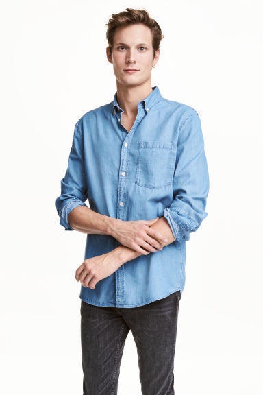 Denim shirt - Light denim blue - Men | H&M CN 1