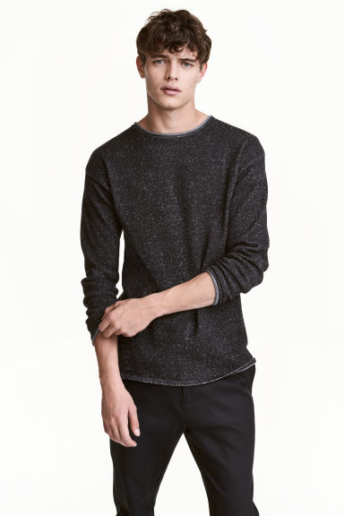 Fine-knit jumper - Black marl - Men | H&M 1
