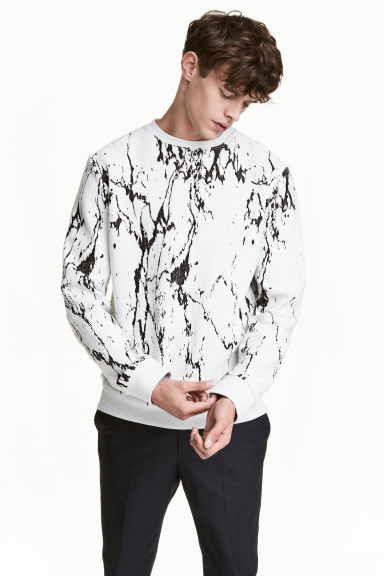 Jacquard-knit jumper - White/Black patterned - Men | H&M