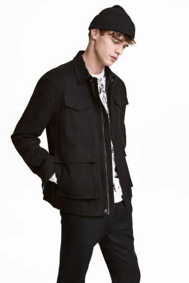 Cotton twill jacket - Black - Men | H&M