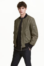 Padded bomber jacket - Khaki green - Men | H&M 1