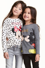 2-pack printed jersey tops - Dark grey/Minnie Mouse - Kids | H&M CN 1