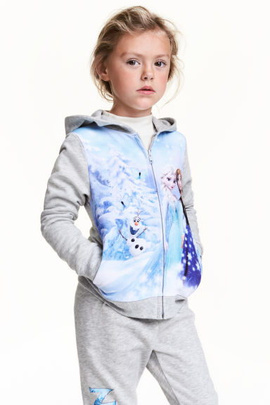 Printed hooded jacket - Grey/Frozen - Kids | H&M CN