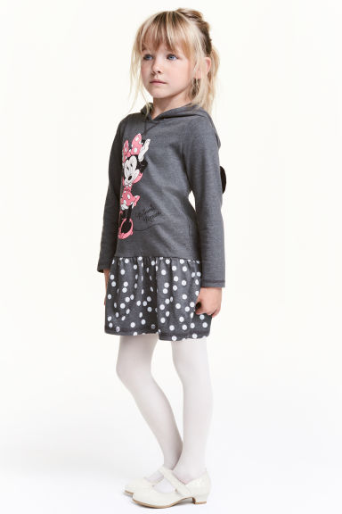 Jersey dress with a hood - Dark grey/Minnie Mouse - Kids | H&M CN