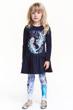 Print motif jersey dress - Dark blue/Frozen - Kids | H&M CN 1