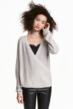 Knitted wrapover jumper - Light grey - Ladies | H&M 1