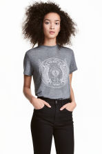 T-shirt with a motif - Grey - Ladies | H&M CN 1