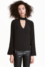 Blouse with trumpet sleeves - Black - Ladies | H&M CN 1