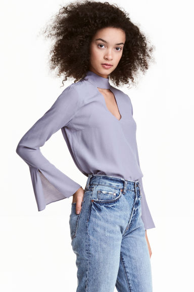 Blouse with trumpet sleeves - Light heather - Ladies | H&M CN 1