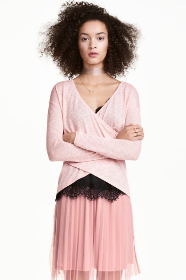 Wrapover jumper - Powder pink - Ladies | H&M 1