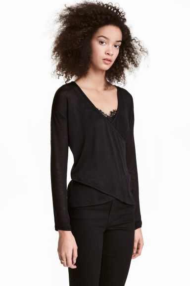 Wrapover jumper - Black - Ladies | H&M 1