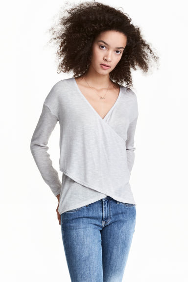 Wrapover jumper - Light grey - Ladies | H&M 1