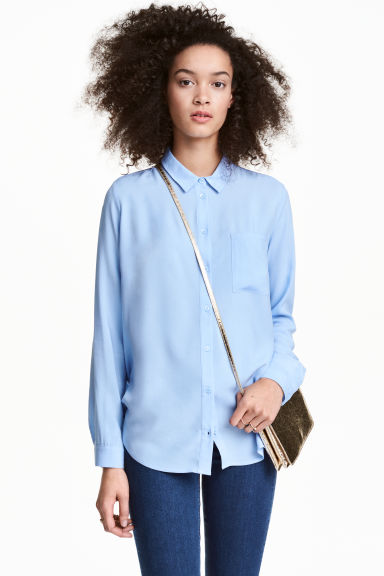 Viscose shirt - Light blue - Ladies | H&M GB 1