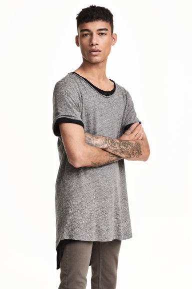 Raw-edge T-shirt - Grey marl - Men | H&M CN 1