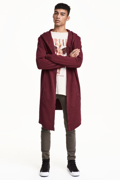 Sweatshirt cardigan - Burgundy - Men | H&M
