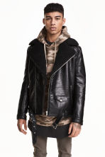 Pile-lined biker jacket - Black - Men | H&M CN 1