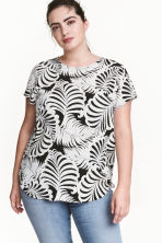 H&M+ Patterned top - Black/Leaf - Ladies | H&M 1