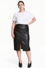 H&M+ Imitation leather skirt - Black - Ladies | H&M CN 1