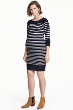 MAMA Fine-knit dress - Dark blue/Striped - Ladies | H&M 1