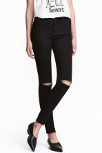 Skinny High Ripped Jeans - Black - Ladies | H&M 1