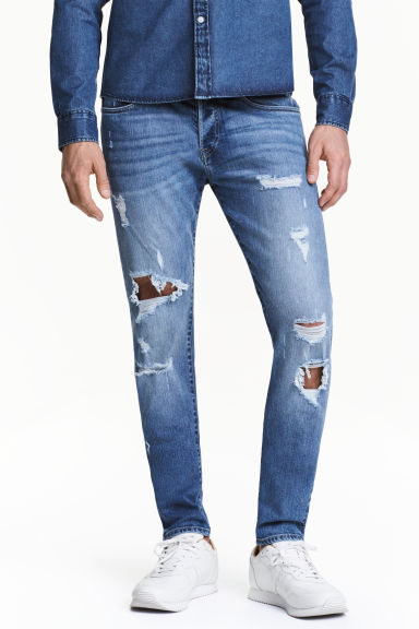 Trashed Skinny Jeans - Denim blue - Men | H&M 1