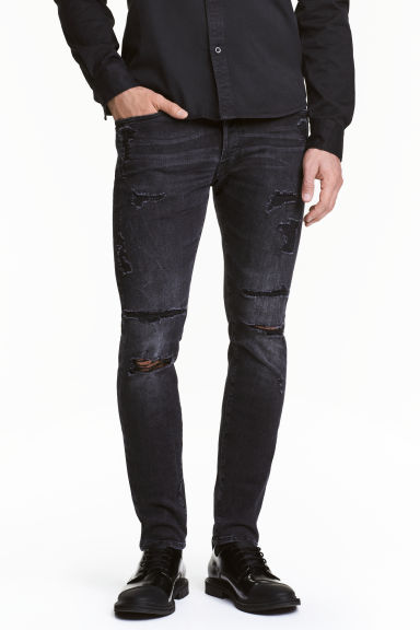 Skinny Low Trashed Jeans - Noir washed out - HOMME | H&M FR 1