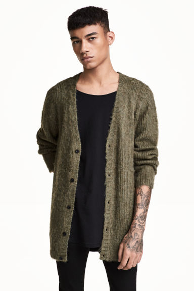 V-neck cardigan - Khaki green marl - Men | H&M CN 1