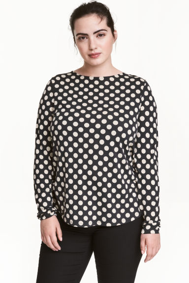 H&M+ Long-sleeved jersey top - Dark grey/Spotted - Ladies | H&M CN 1