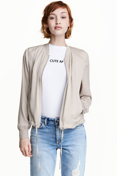 Bomber jacket - Light beige - Ladies | H&M CN 1