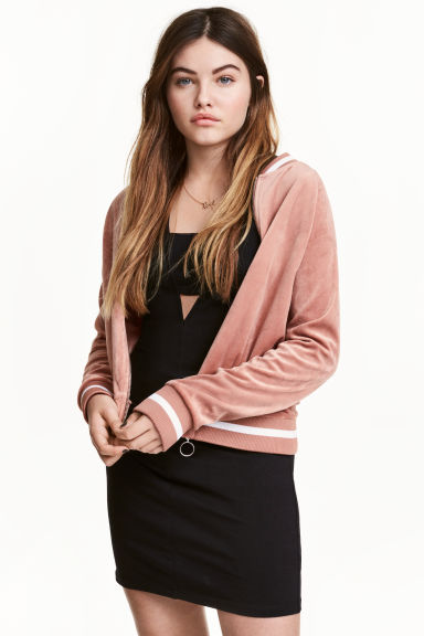Velour cardigan - Old rose - Ladies | H&M 1