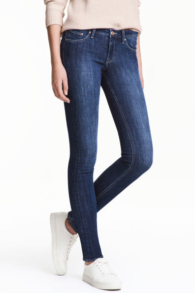 Super Skinny Low Jeans - Dark denim blue/Washed - Ladies | H&M CN 1