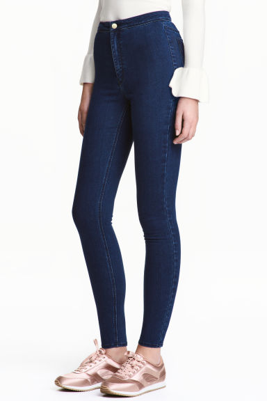 Trousers High waist - Dark denim blue - Ladies | H&M CN 1